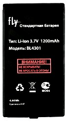 Аккумулятор Fly DS110 (BL4301) 1200mAh Li-ion, Акб Fly DS110 (BL4301) 1200 mAh Li-ion, Fly BL4301